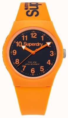 Superdry Gents gomma arancione urbano cinturino quadrante nero SYG164O