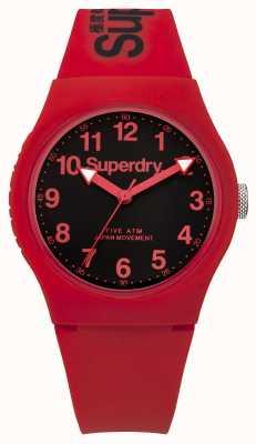 Superdry Mens quadrante nero cinturino rosso urbano SYG164RB
