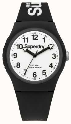 Superdry Mens quadrante bianco urbano cinturino nero SYG164BW