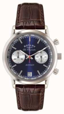 Rotary Mens vendicatore cinturino in pelle marrone quadrante blu GS90130/05