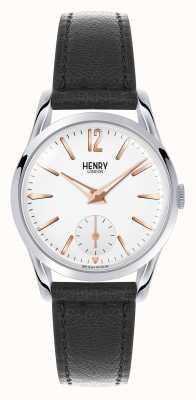 Henry London Quadrante bianco Highgate cinturino in pelle nera HL30-US-0001