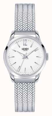 Henry London Quadrante bianco in maglia in acciaio inox Edgware HL25-M-0013