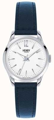 Henry London quadrante bianco Knightsbridge cinturino in pelle blu HL25-S-0027