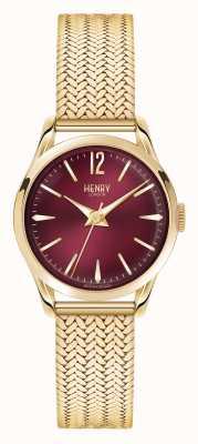 Henry London Oro placcato Holborn maglia quadrante rosso profondo HL25-M-0058