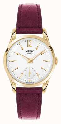 Henry London quadrante bianco cinturino in pelle rosso intenso Holborn HL30-US-0060
