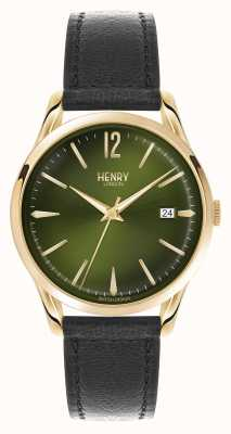 Henry London cinturino in pelle nera quadrante verde Chiswick HL39-S-0100