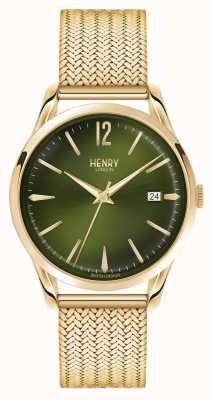 Henry London Chiswick placcato oro maglia linea verde HL39-M-0102