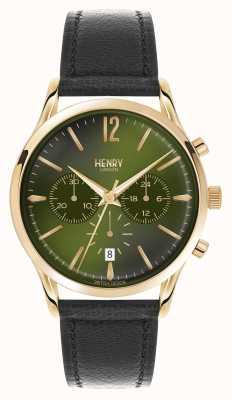 Henry London Chiswick pelle nera cinturino del cronografo HL41-CS-0106