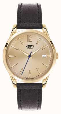 Henry London Westminster marrone champagne cinturino in pelle HL39-S-0006