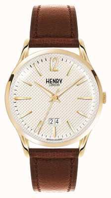 Henry London Westminster marrone champagne cinturino in pelle HL41-JS-0016