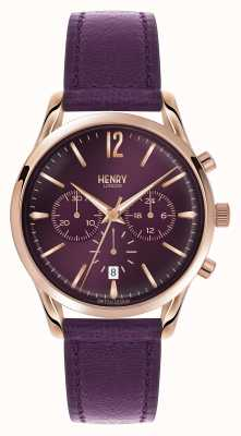 Henry London Hampstead pelle viola cinghia cronografo HL39-CS-0092