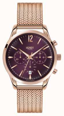 Henry London Hampstead oro rosa placcato maglia cronografo HL39-CM-0088