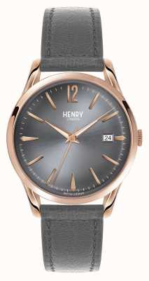 Henry London Quadrante grigio Finchley cinturino in pelle grigio HL39-S-0120