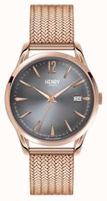 Henry London Finchley rosa maglia oro quadrante grigio HL39-M-0118