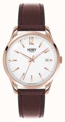 Henry London quadrante bianco Richmond cinturino in pelle marrone HL39-S-0028