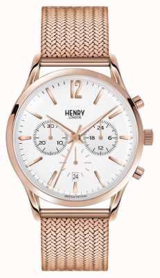 Henry London Richmond oro rosa placcato maglia cronografo HL41-CM-0040