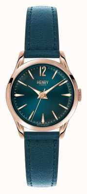 Henry London Stratford cinturino in pelle blu quadrante blu HL25-S-0128