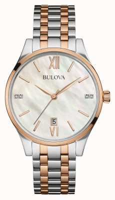 Bulova Womens due tono bianco quadrante in madreperla 98S150