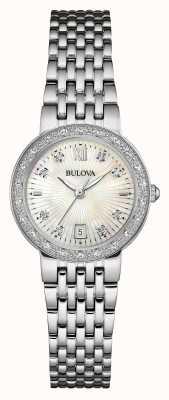 Bulova Womens set quadrante bianco diamante in acciaio inox 96W203