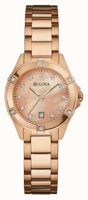 Bulova Donna rosa placcato oro rosa quadrante in oro 97W101