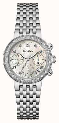 Bulova Acciaio inossidabile delle donne insieme diamante crono 96W204