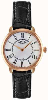 Rotary Orologio da donna con cinturino in pelle nera elise LS02919/41