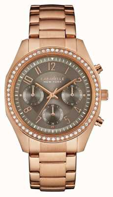 Caravelle New York Womens rosa del cronografo oro cristallo 44L195