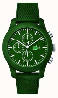 Lacoste Mens 12.12 crono cinturino in caucciù verde quadrante verde 2010822