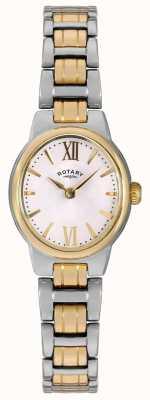 Rotary Womens due segnale di linea libera braccialetto bianco LB02747/01