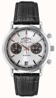 Rotary Mens avenger pelle nera cinghia crono GS90130/06