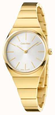 Calvin Klein Delle donne supremo pvd oro placcato quadrante argentato K6C23546