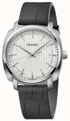 Calvin Klein Pelle nera quadrante silver cinturino Mens Highline K5M311C6
