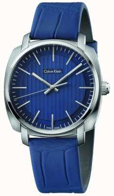 Calvin Klein Cinturino in pelle blu quadrante blu Mens Highline K5M311VN