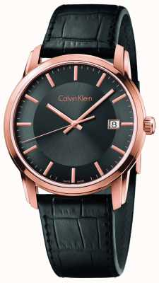 Calvin Klein Mens infinita cinturino in pelle nera quadrante nero K5S316C3