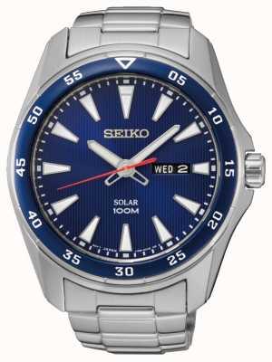 Seiko Mens blu quadrante in acciaio inox solare SNE391P1