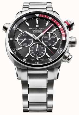 Maurice Lacroix Mens tela nera orologio analogico automatica PT6018-SS002-330-1