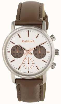 Kahuna Delle donne quadrante bianco cinturino marrone KLS-0318L