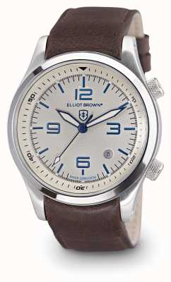 Elliot Brown Mens Canford quadrante bianco pelle marrone 202-001-L09