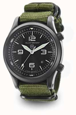 Elliot Brown Mens Canford cinturino in nylon verde quadrante nero 202-004-N01