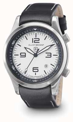 Elliot Brown Mens Canford quadrante bianco in pelle nera 202-005-L02