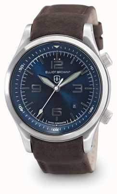 Elliot Brown Quadrante blu uomo in pelle marrone canford 202-007-L07