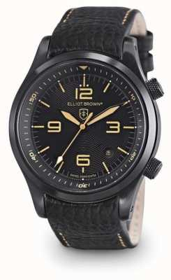 Elliot Brown Mens Canford quadrante nero in pelle nera 202-008-L11