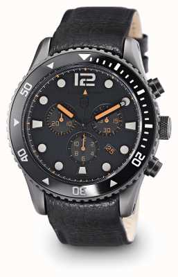 Elliot Brown Mens bloxworth quadrante grigio in pelle nera 929-004-L01