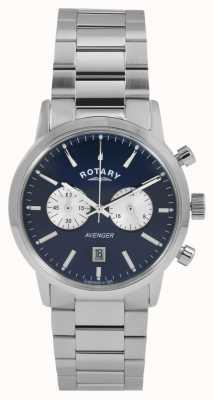 Rotary Mens vendicatore acciaio quadrante blu GB02730/05