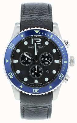 Elliot Brown Mens bloxworth pelle nera personalizzato quadrante blu 929-003