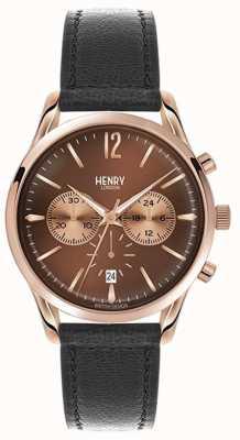 Henry London Erpice unisex in pelle nera marrone cinturino quadrante HL39-CS-0054