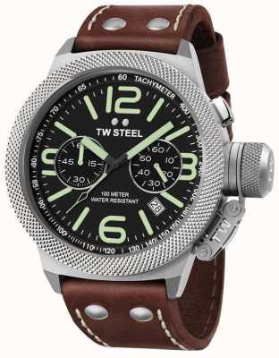 TW Steel mensa 50 millimetri cinturino in pelle marrone Mens crono CS24