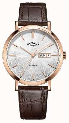 Rotary Mens cinturino in pelle marrone oro rosa placcato GS05304/02