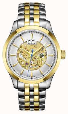 Rotary Mens caso placcato due cinturino tono oro GB05033/06
