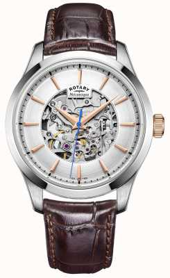 Rotary Mens quadrante silver cinturino in pelle marrone GS05032/06